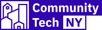 Logo for Community Tech NY in purple - the organization name coupled with an image of low-resolution buildings